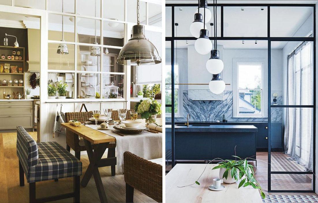 Due esempi di vetrata post industriale che mitiga il - Cucine con vetrate ...
