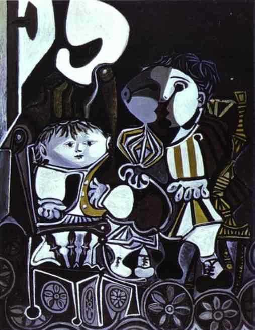 لوحات الرسام  بابلو بيكاسو بين اللوحه والمعلومه فنان القرن Pablo%20Picasso%20-%20Paloma%20and%20Claude,%20Children%20of%20Picasso
