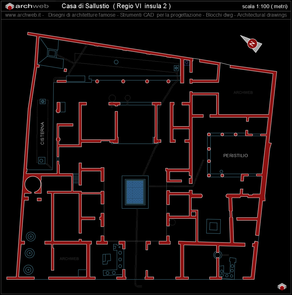 Casa di sallustio foto aeree e fotomontaggio archweb for File cad di casa
