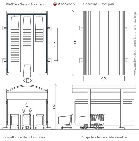 Pensiline bus dwg shopping cart shelter for Staccionata dwg