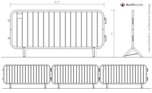 Barriere pedonali pedestrian barriers dwg drawing for Arredo urbano dwg