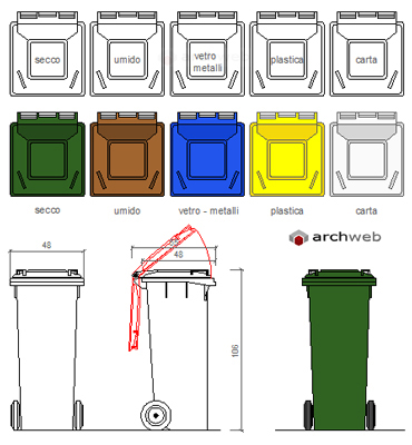 Contenitori nettezza urbana cassonetto rifiuti dwg - Bidoni per differenziata casa ...