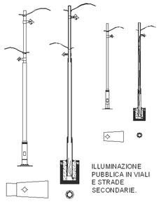 Lampioni 2d lampioni stradali dwg for Arredo giardino dwg
