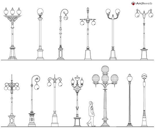 Lampioni Per Arredo Urbano.Lampioni 2d Lampioni Stradali Dwg