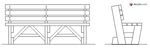 Panchine in legno wooden benches drawings for Arredo urbano dwg