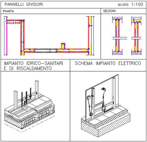 Pannelli divisori dwg divisori pareti dwg for Pannelli divisori interni