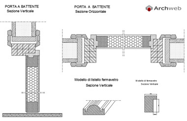Porte interne dwg for Controtelaio porta battente