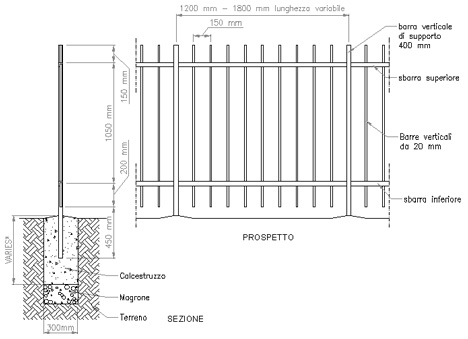 Recinzioni dettagli dwg for Strutture metalliche dwg