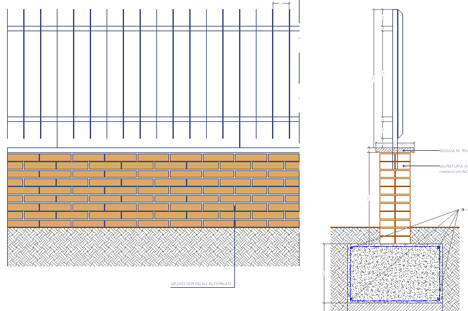 particolare costruttivo recinzione rete metallica
