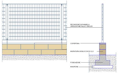 Recinzioni dettagli dwg for Muretto recinzione dwg