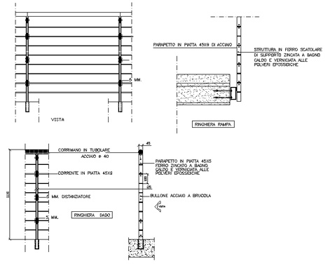 Railings railings balustrades dwg 3 for Strutture metalliche dwg