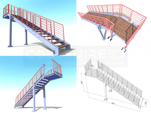 Scale 3d in acciaio e klinker for Strutture metalliche dwg