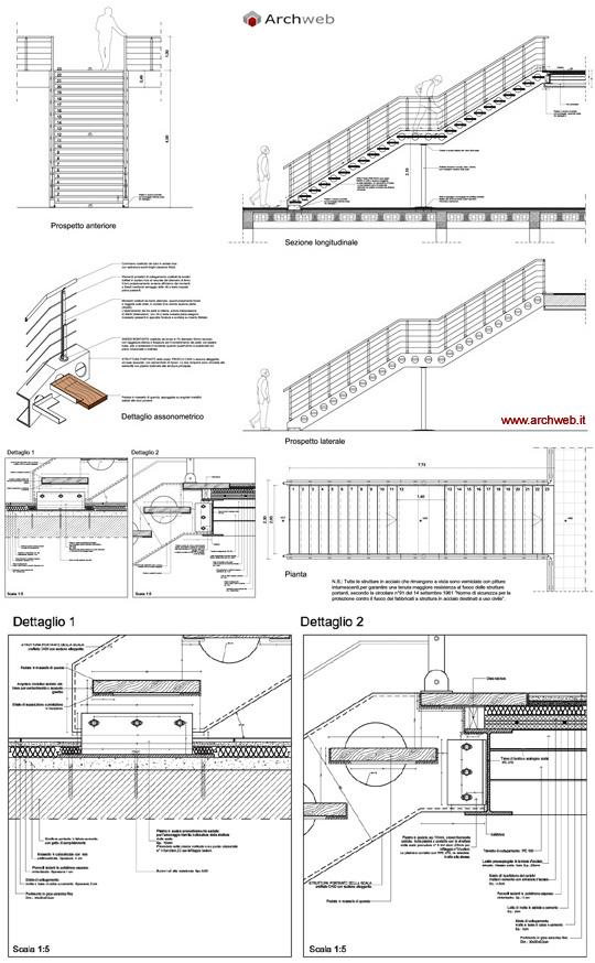 scale in acciaio e legno dwg