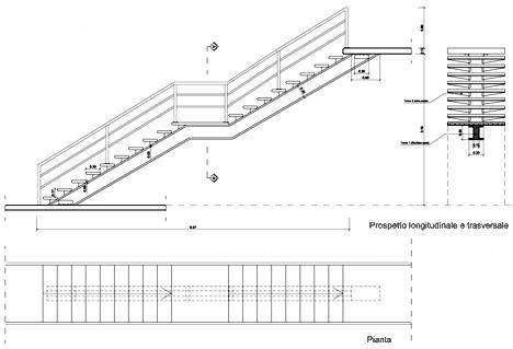 Scala con struttura monotrave in c a for Scala in legno dwg