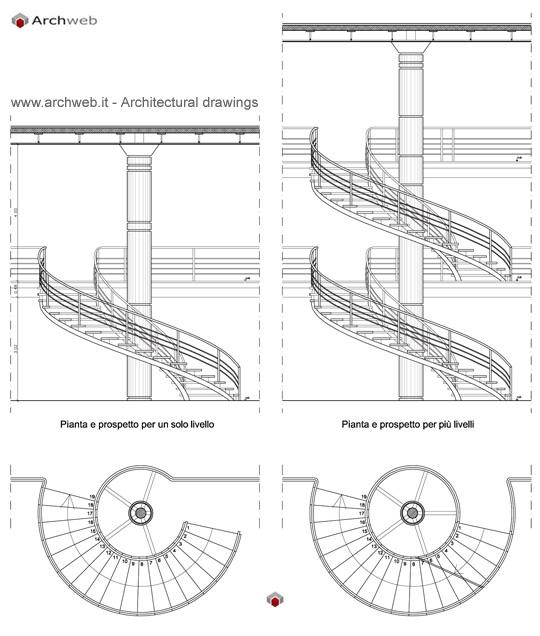 Scala circolare pianta e prospetto for Scala a chiocciola dwg