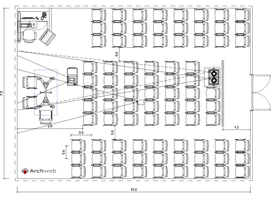 Conference room layout drawings for Archweb uffici