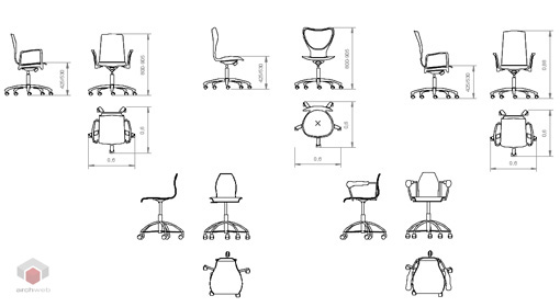 Office chairs 2D - Office chairs drawings