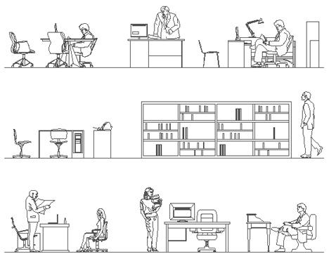 Sezioni prospetto uffici dwg persone in ufficio for Arredi per autocad