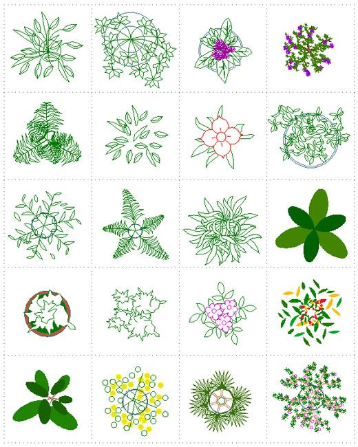 piante per interni e in vaso disegni dwg
