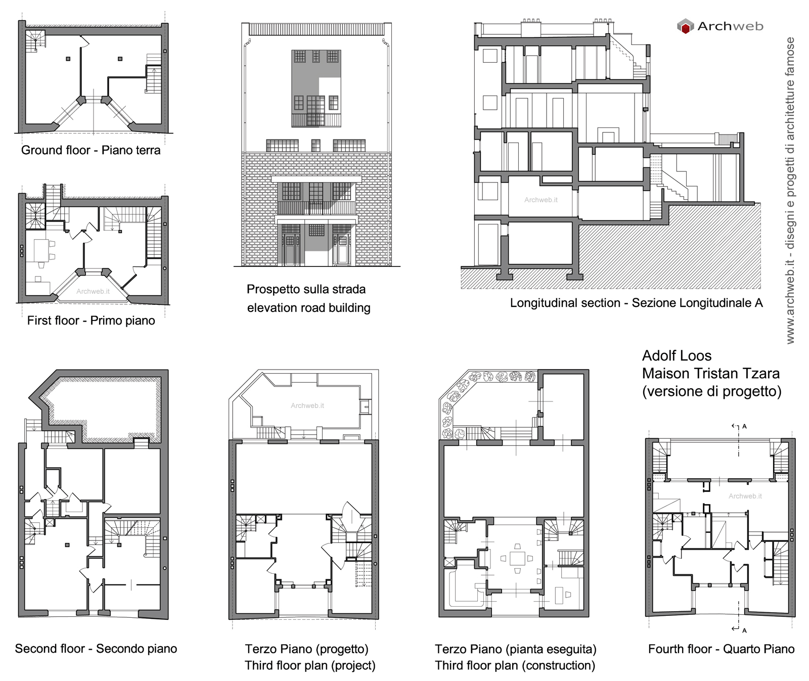 Maison Tzara dwg on black house floor plans