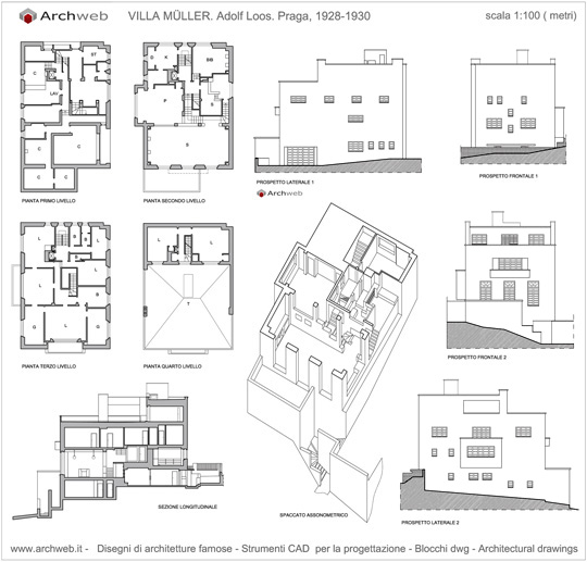 Adolf loos casa muller dwg for File cad di casa