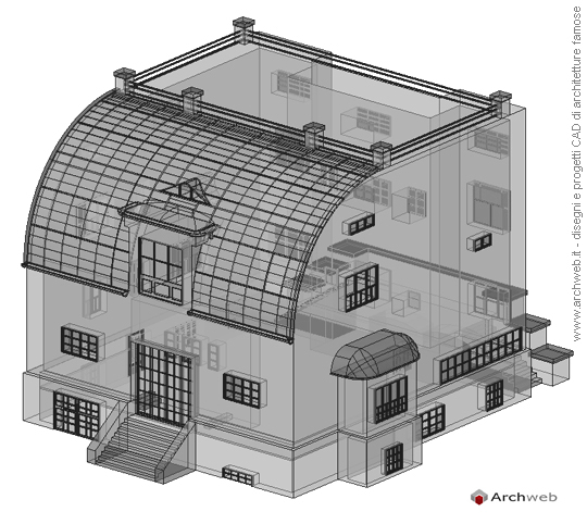 Steiner house 3d model for File cad di casa