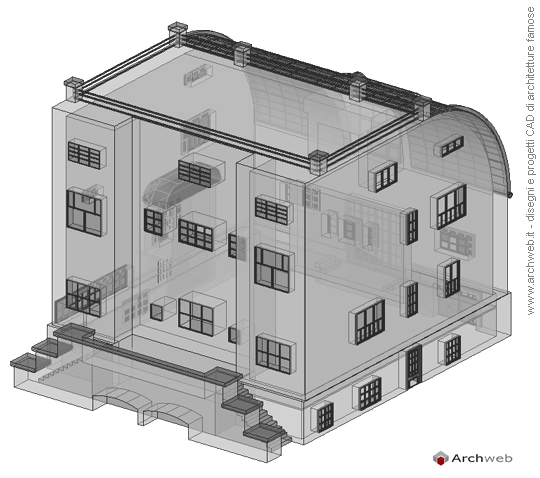 Steiner house 3d model for Archweb arredi