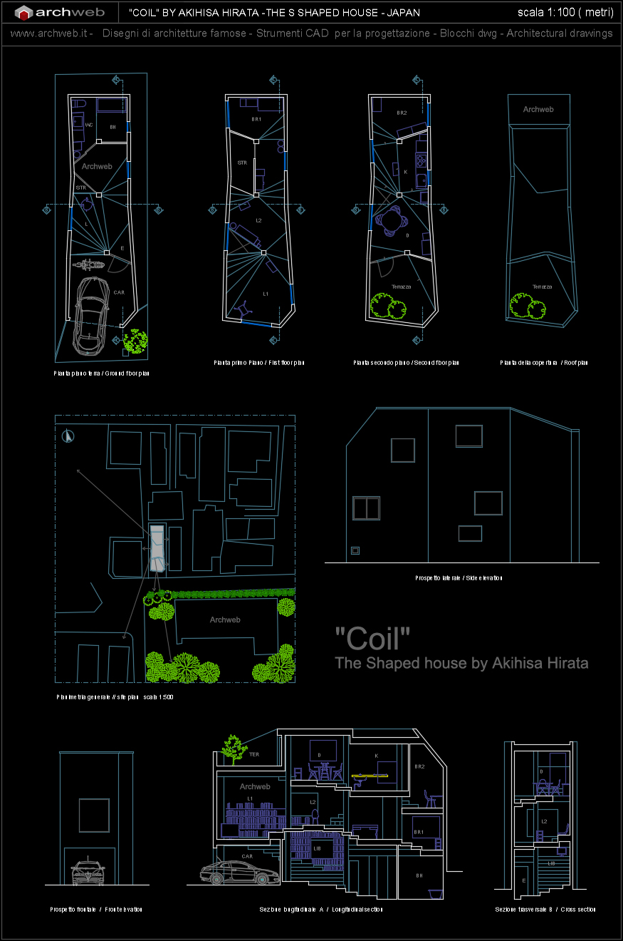 Coil the shaped house autocad dwg plan for Autocad arredi