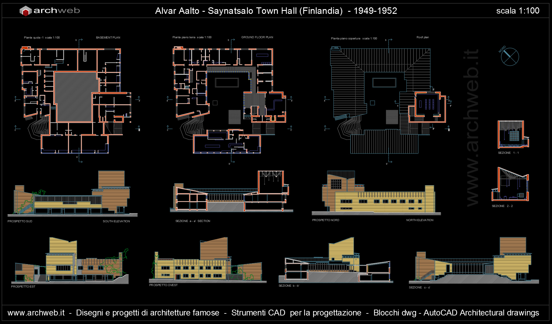 Saynatsalo Town Hall Alvar Aalto Autocad dwg