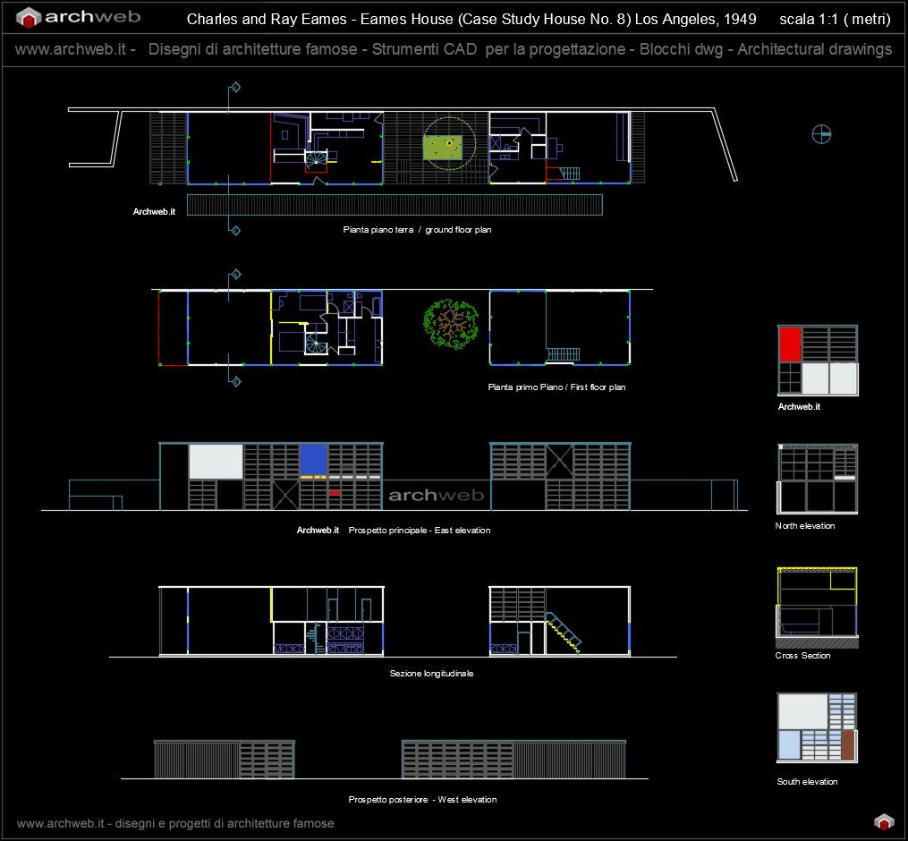 Eames house 2d dwg drawings for Arredi per autocad