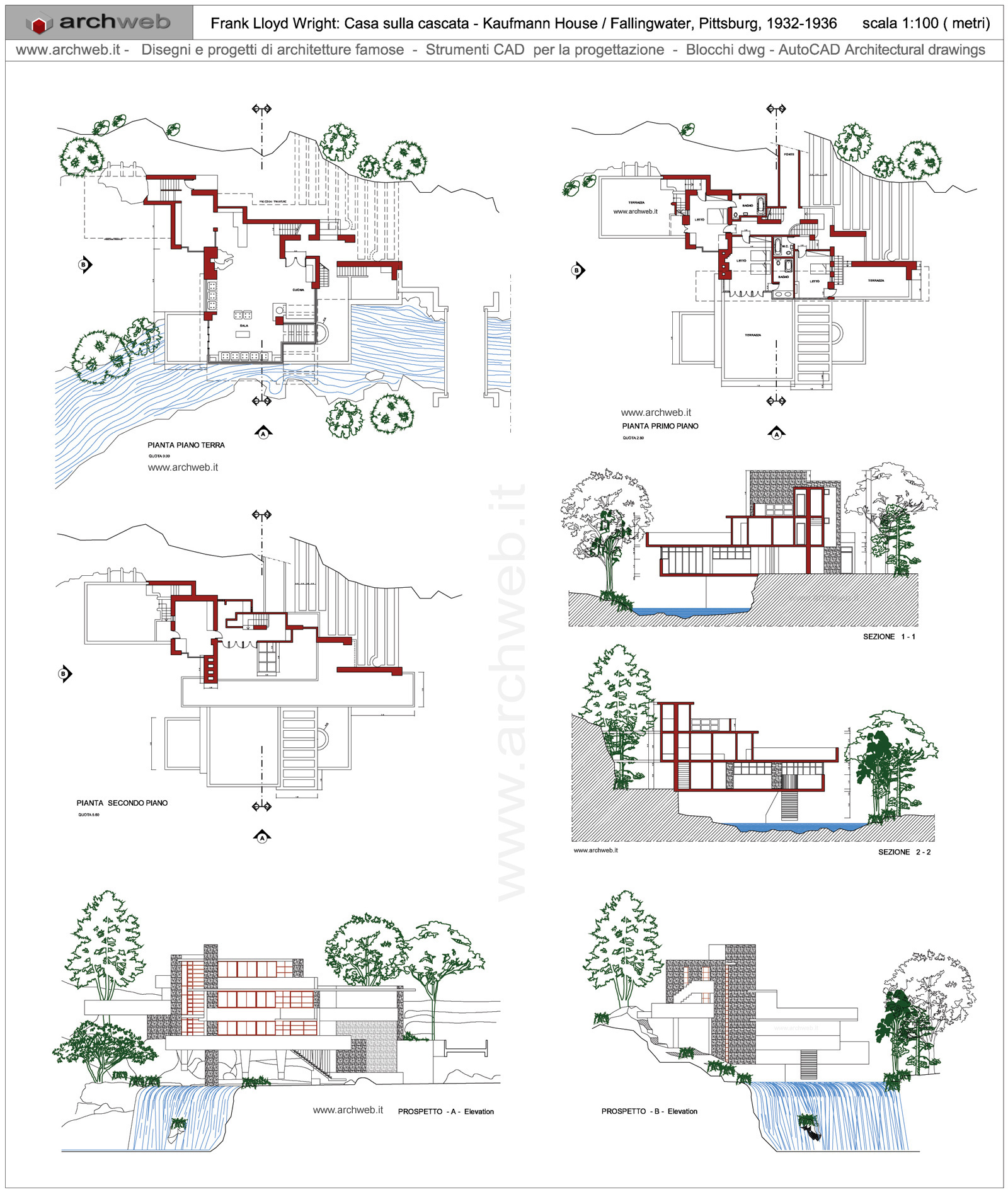 Floor Plan With Elevation And Perspective Pdf : Casa sulla cascata dwg