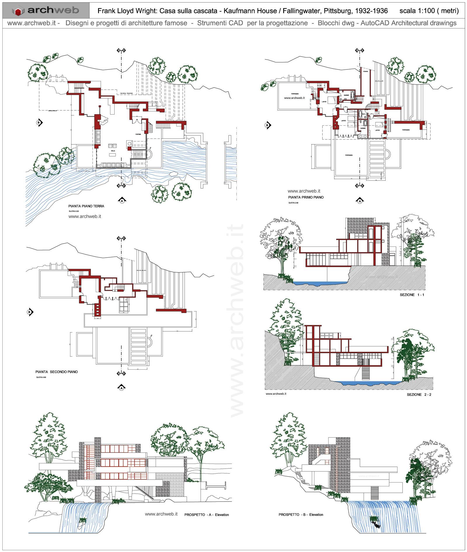 Casa sulla cascata dwg for Frank lloyd wright piani casa della prateria