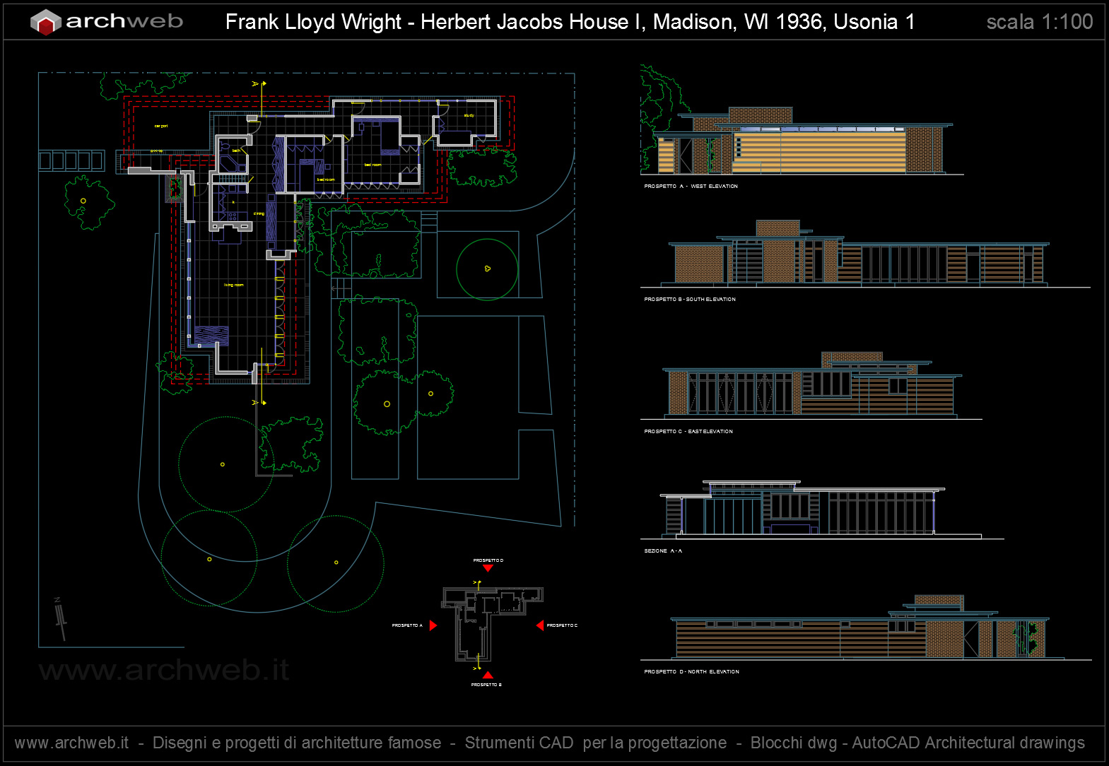 Jacobs house wright autocad dwg for Autocad arredi