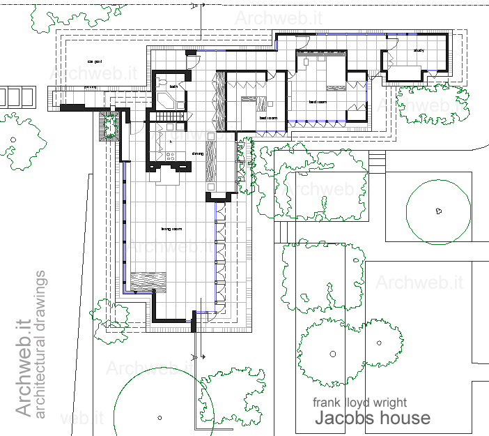 Jacobs house plan on 2d house drawing
