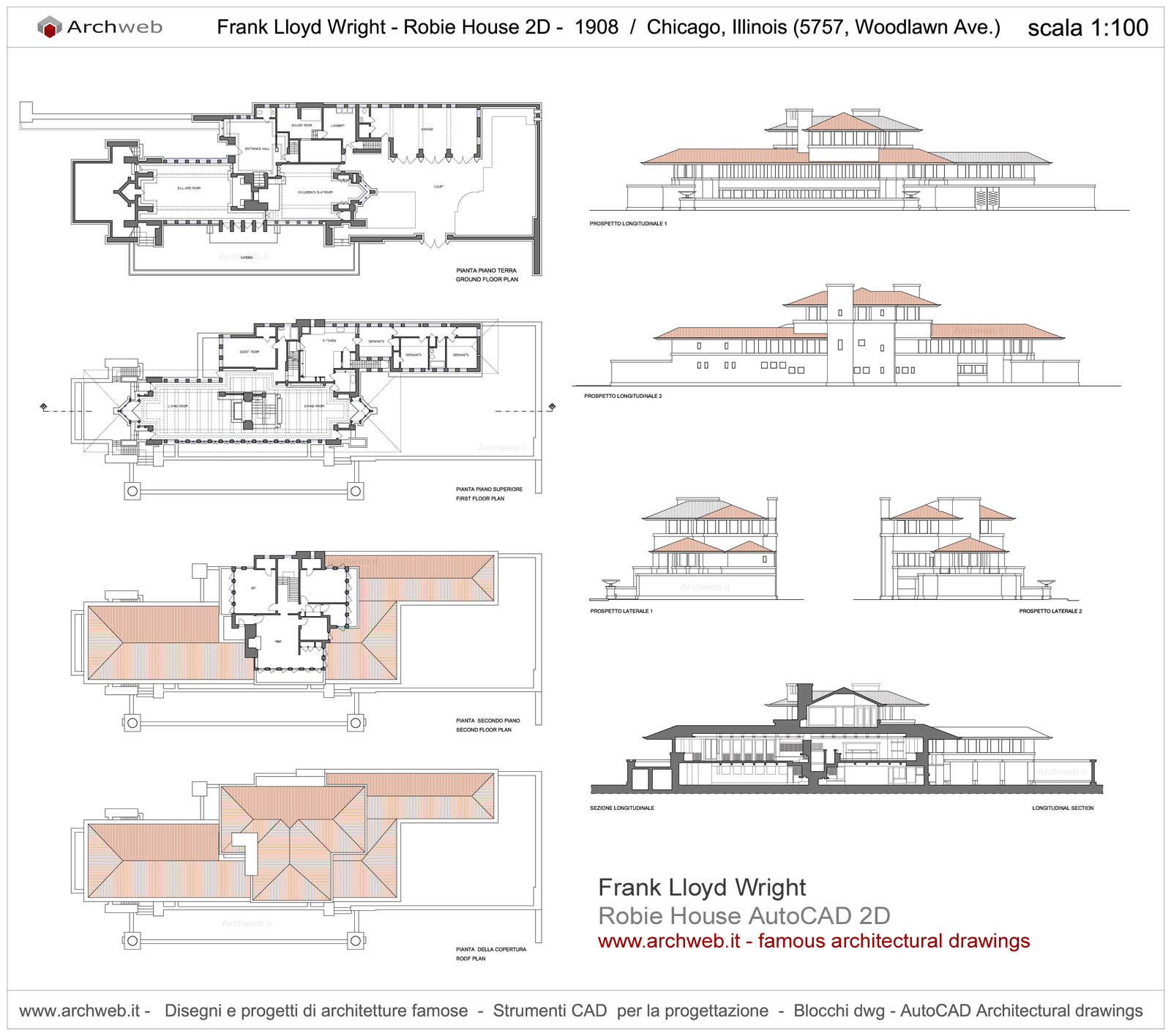 Robie House plan drawings