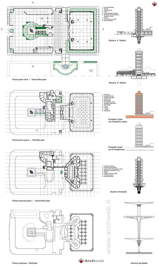 Johnson wax company tower dwg for Archweb uffici