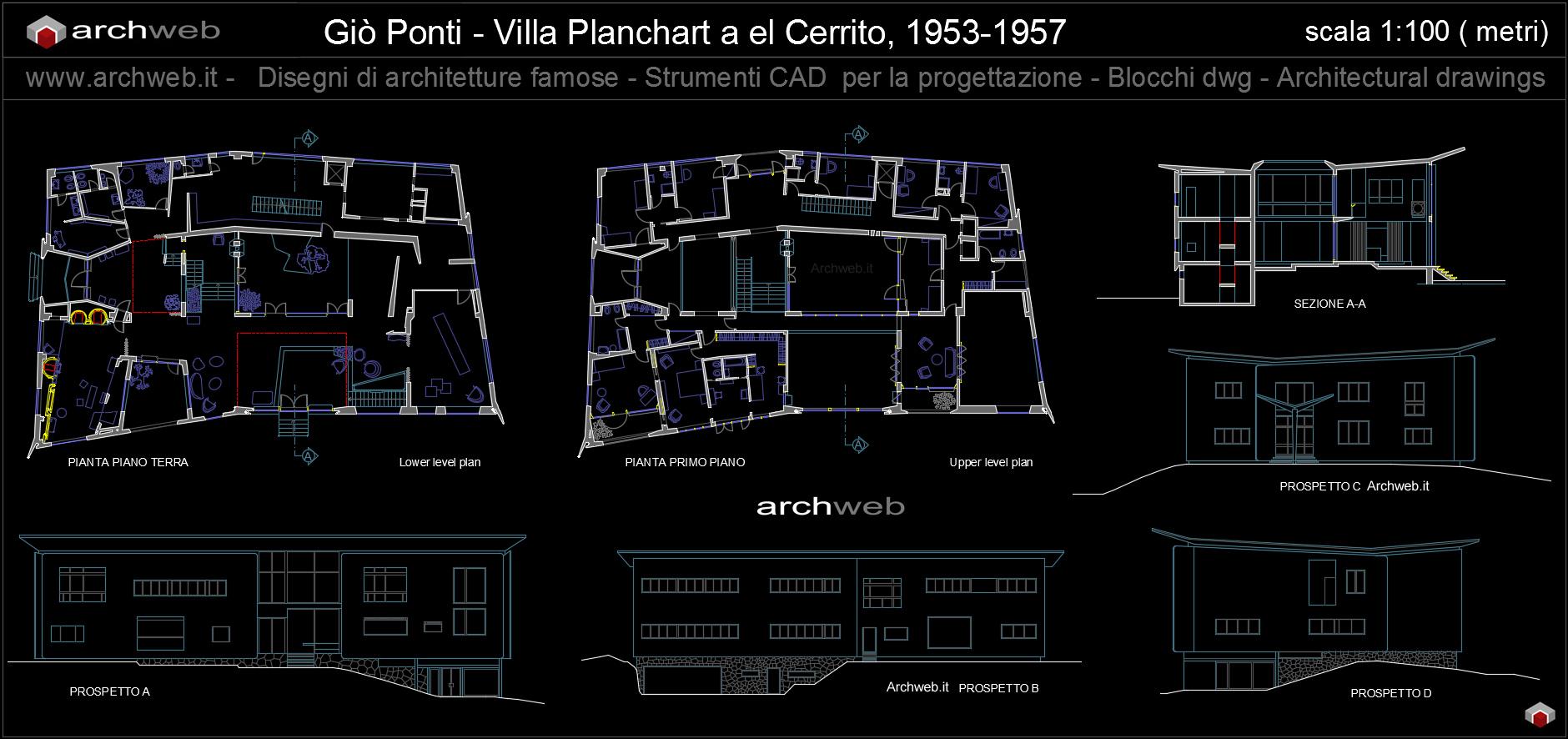 Villa planchart autocad dwg drawings for Arredi autocad