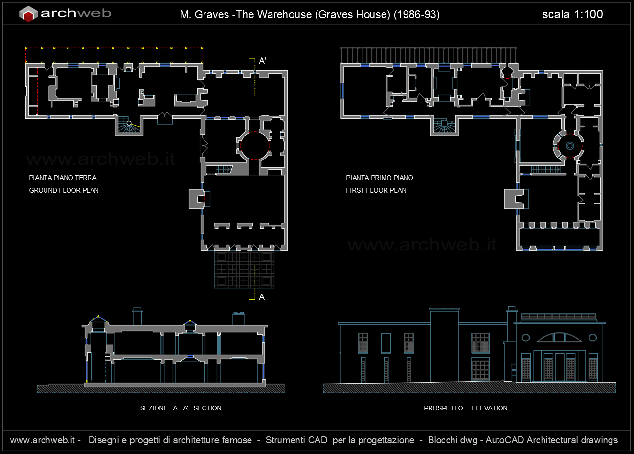Warehouse graves house autocad dwg for Autocad arredi
