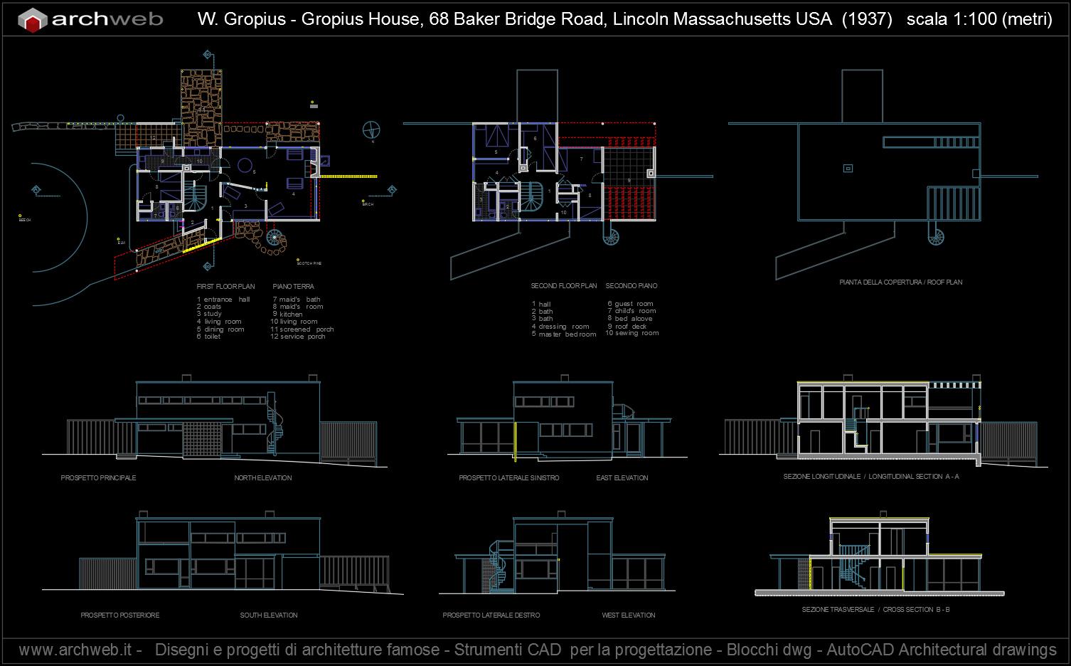 Gropius house autocad progetto for Arredi autocad