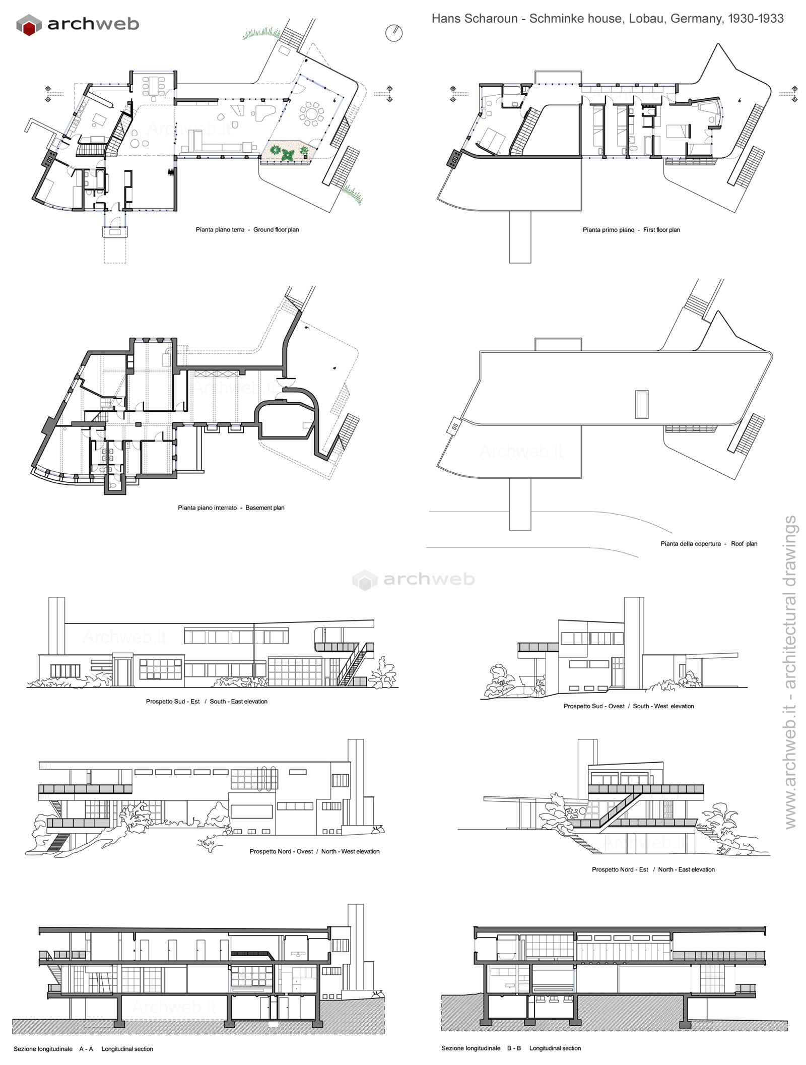 Schminke house scharoun dwg drawings for Www house plans com