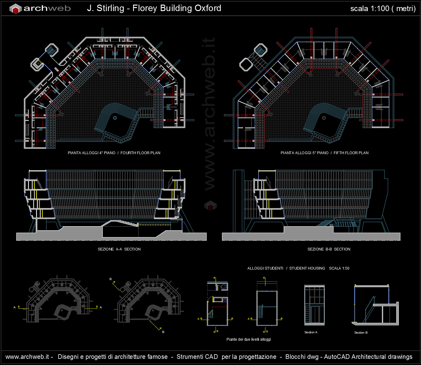 Florey building stirling autocad plans for Autocad arredi