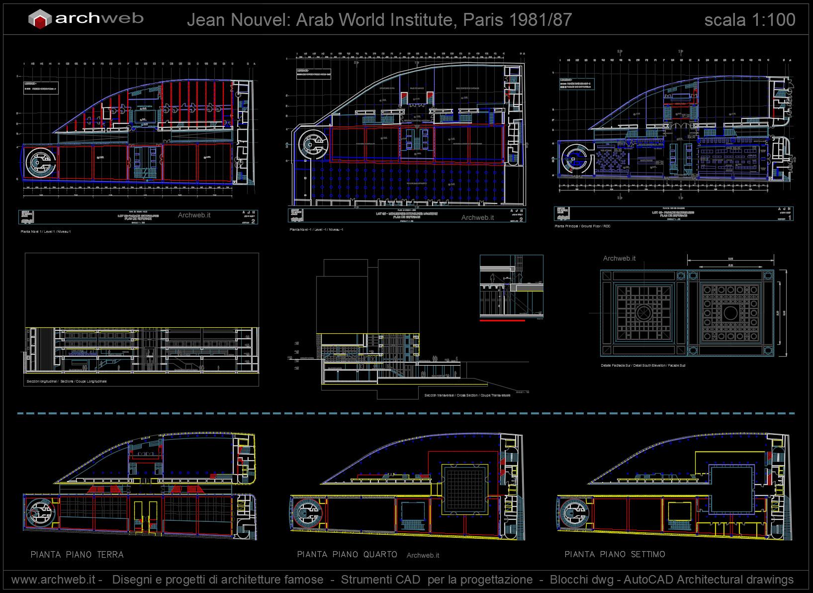 Nouvel institut du monde arabe autocad dwg for Arredi dwg gratis