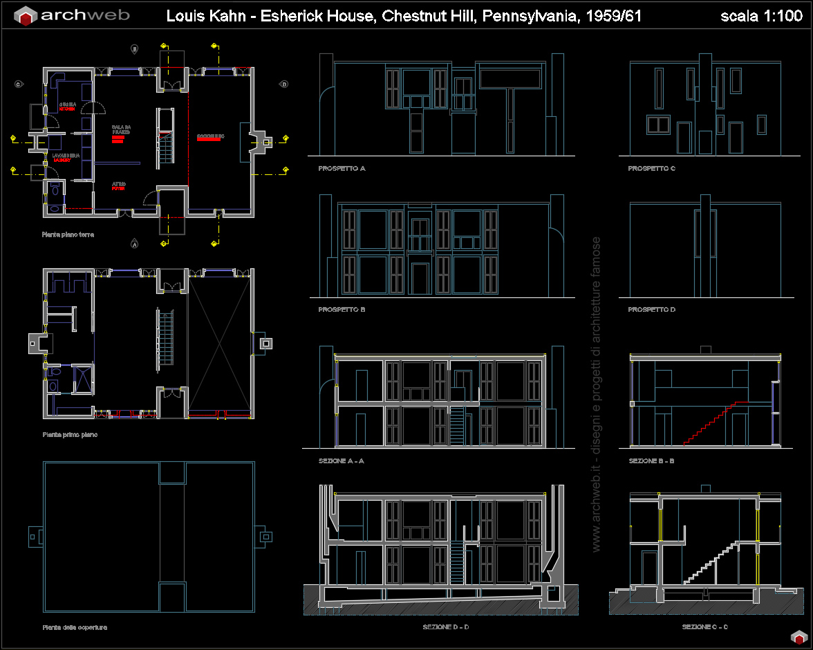 Esherick house autocad dwg for Arredi casa dwg