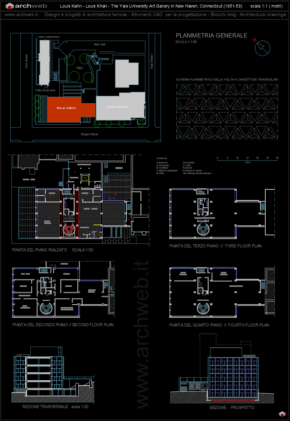 Yale university art gallery autocad dwg for Arredi cad