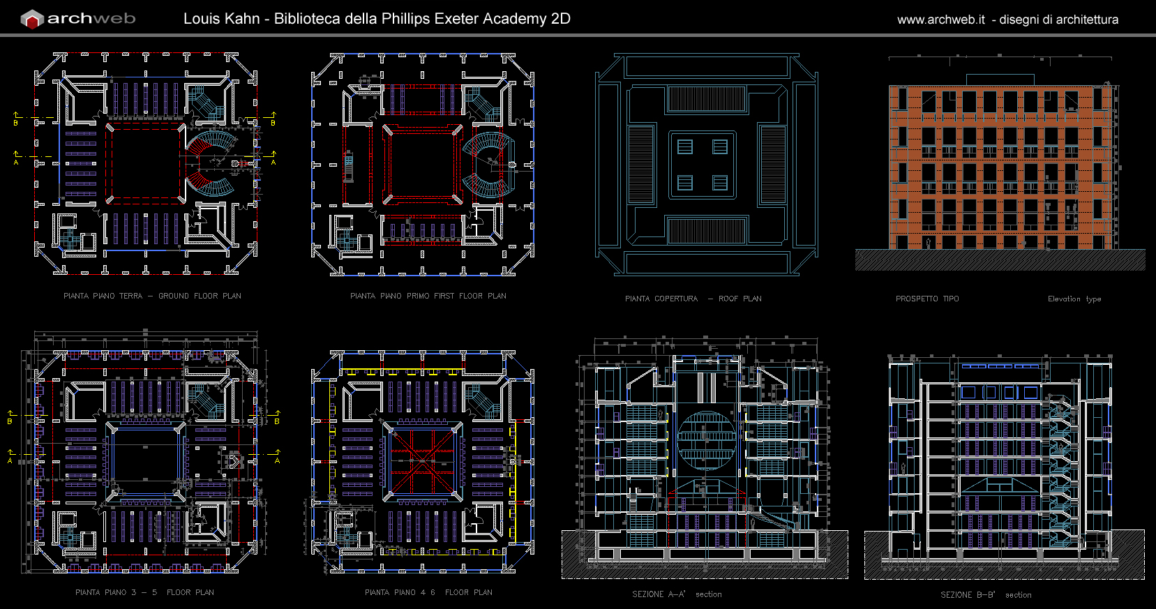 Phillips exeter library autocad dwg for Biblioteca autocad