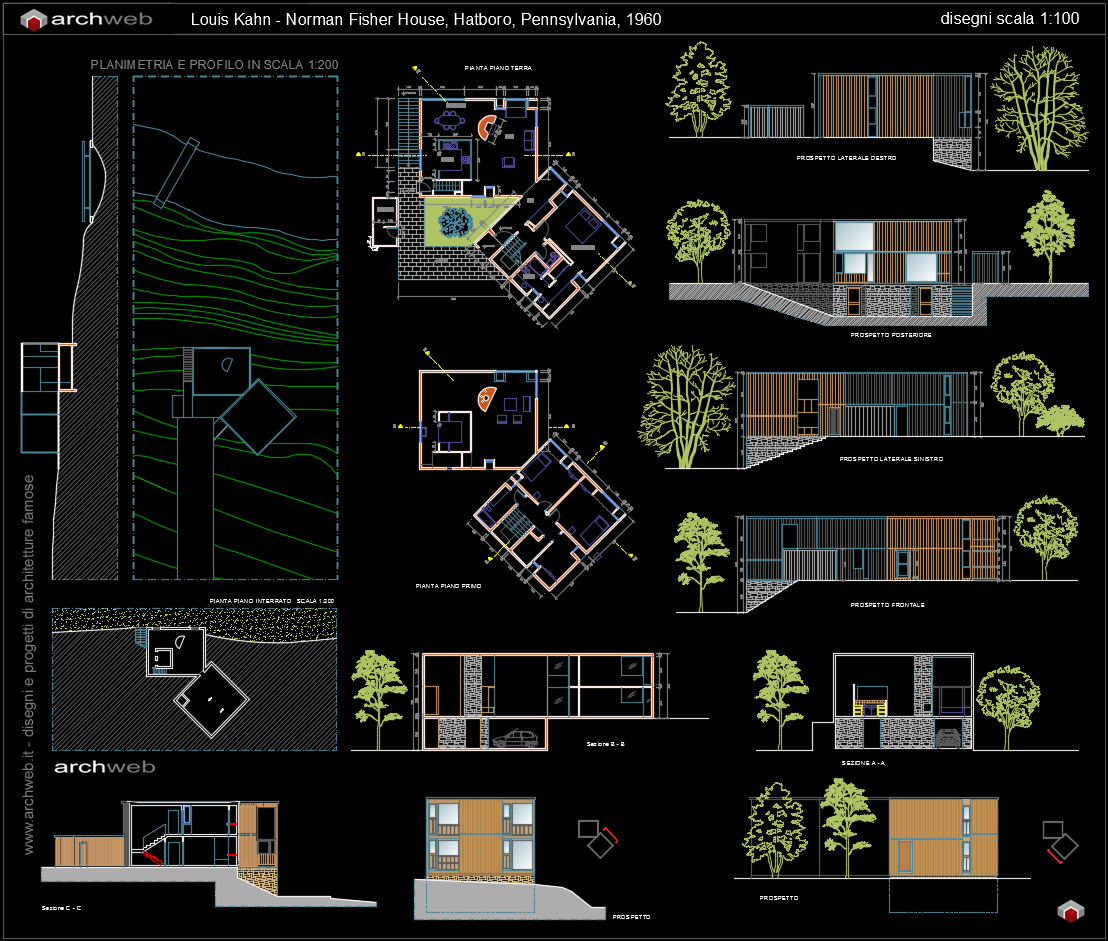 Fisher house autocad dwg for Arredi casa dwg