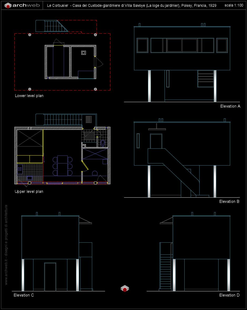 Casa del giardiniere di villa savoye disegni dwg for File cad di casa