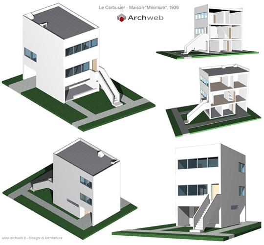 Maison minimum 3d model progetto di le corbusier - Temperature minimum maison ...