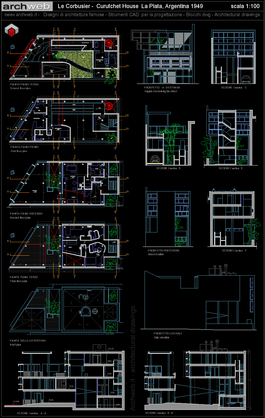 Curutchet house autocad dwg for Arredi casa dwg
