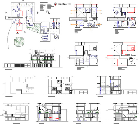 Shodan house 2d villa shodan dwg for Pianificatore di blueprint gratuito